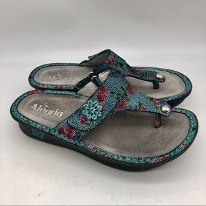 Alegria turquoise and pink floral sandals